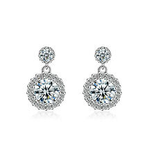 Fashion Solid 925 Sterling Silver Round Natural Zircon Ear Stud Drop Earrings