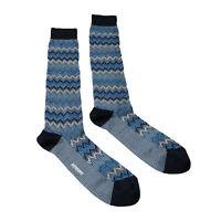 Missoni GM00CMU5445 0002 Blue/Black Chevron Boot Socks