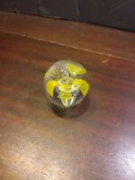 "Vtg Art Glass Hand Blown Yellow flower  Paperweight 2"" Dia"