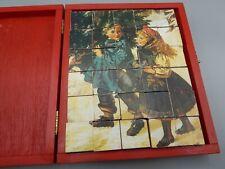 VINTAGE Boxed CHRISTMAS Block Puzzle Victorian Block Puzzle