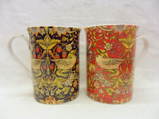 Set of 2 William Morris red and black birds tapestry china 10oz mugs