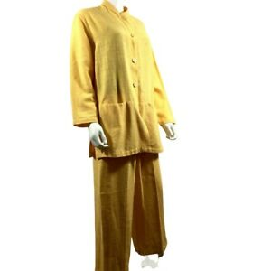 Sangam Size M Woven Cotton Jacket Pants Suit Yellow Lagenlook Boxy Button Up r3