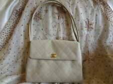 Authentic Chanel Beige Quilted flap Medallion Shoulder Tote Bag Purse T21 VALUE