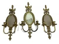 Antique Vintage French Style Brass Mirrored 2 Candle Wall Sconces Set Of 3 Large