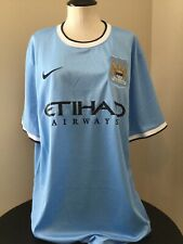 NIKE Manchester City FC Etihad Airways Football Soccer Blue Jersey LG NWOT