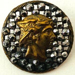 Medium Antique Victorian Brass Head of MERCURY on Cut Steels Button #SC7