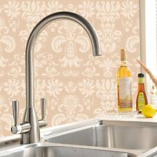 Brushed Modern Twin Control Swivel Spout Chrome Monobloc Kitchen Sink Mixer Tap