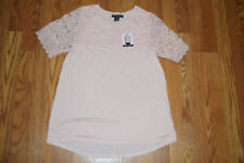 NWT Womens ADRIANNA PAPELL Blush Pink Lace Top Short Sleeve Shirt 2XL XXL $49