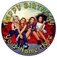 """LITTLE MIX JADE PERRIE JESY 7.5"""" PERSONALISED ROUND EDIBLE ICING CAKE TOPPER (5)"""