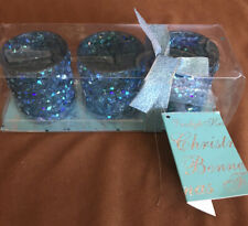 SET/3 BLUE SPARKLY VOTIVE TEA LIGHT GLASS HOLDER (3). Gift Box.  New!
