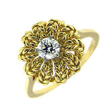 0.41 CT YELLOW GOLD ANTIQUE DIAMOND SOLITAIRE RING 18 KT