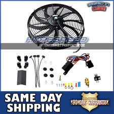 "16"" Electric Universal Push/Pull Cooling Slim Fan Tornado + Thermostat Relay Kit"