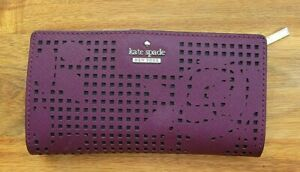 KATE SPADE Kate Spade New York CAMERON STREET PERFORATED STACY WALLET PLUM