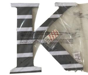 """POTTERY BARN TEEN WALL LETTER { K }  12"""" BOLD BLACK & WHITE STRIPE BRAND NEW !!"""