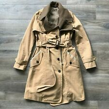 Women's Eryn Brinie Single Breast Full Zip Fleece Lined Trench Top Coat Sz Small