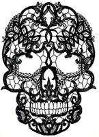 20 new water slide nail art transfer nail  decal black lace sugar skull Trending