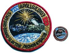 "NASA 3"" PATCH & PIN PAIR vtg APOLLO - SOYUZ Joint US Russian space exploration"