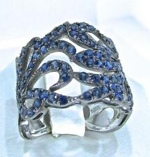 PIPPO PEREZ 18 KT. White Gold Blue Sapphires Cut Out Floral Design Wide Ring 7.5