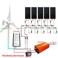 900W Hybrid Wind Kit 5pcs 100W Mono Solar Panel + 400W Wing Generator for Home