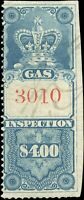 "1875 Used Canada $4.00 ""Crown"" F Van Dam #FG15 Gas Inspection Stamp"