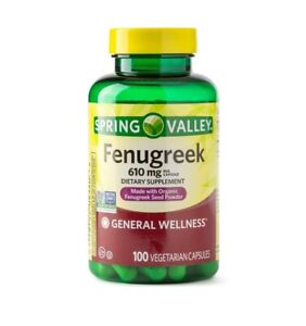 Spring Valley Fenugreek Dietary Supplement Capsules, 610mg, 100 ct