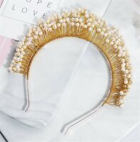 Women Girl Gold boho Pearl Halo Rave Hair head band Headband Tiara Hairpiece