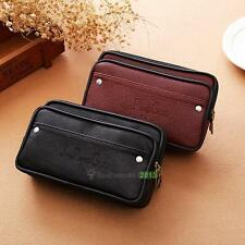 Zip Soft Leather Men Women Card Coin Key Holder Case Wallet Pouch Belt Purse
