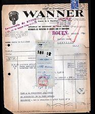 """ROUEN & PARIS (76 / XI°) USINE de GRAISSEURS """"Ets. WANNER"""" Voyagée en 1950"""