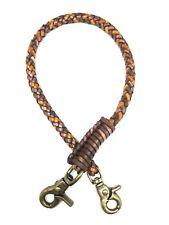 Biker brown tan braided chain 2 tone leather Heavy Duty Trucker wallets brass