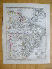 BRASILIEN GUAYANA BOLIVIEN  handkolorierter STAHLSTICH 1857 LANDKARTE Stich map
