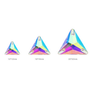 Sew On Crystal Two hole Flat back Triangle Faceted Glass Rhinestone Jewels
