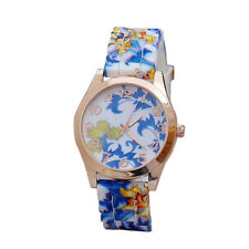 Young Girl Watch Silicone Printed Spring Flower Causal Quartz Wrist Watch B MM7