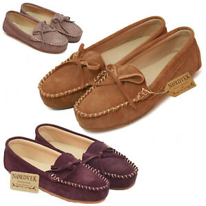 Nordvek Ladies Genuine Suede Moccasin Slip On Loafer Pumps Womens With Hard Sole