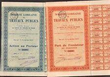 2 titres: SOCIÉTÉ LORRAINE DE TRAVAUX PUBLICS (NANCY 54) (T)