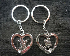 lover lovers keychain gifts couple key ring keyring Mickey Minnie Mouse heart #