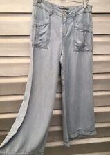LEVEL 99 Anthropologie Light Wash Cotton Denim Crop Wide Leg Flare Trouser Pants