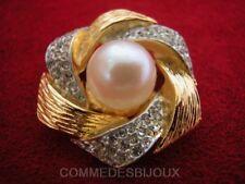 """Broche """"Fleur Bouton d'Or"""" cristal Blanc Perle Nacre - Bijoux Vintage Sphinx"""