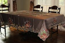 """72x108""""Large Embroidered Tablecloth Holiday Table Topper Home Party Decor"""