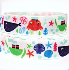 "GROSGRAIN RIBBON 7/8"" Fish Whale Sea Shellfish (COMBINE SHIPPING) USA SELLER"