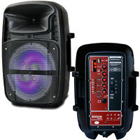 8 Inch portable Bluetooth DJ, PA Speaker AC/DC, Microphone, Light, USB, Stand
