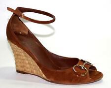 GUCCI Signature HORSEBIT Brown Leather/Suede Raffia Wedge Ankle Shoe 6B 6.5 36B