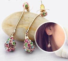 Gold Plated Drop Dangle Earrings Sparkly Austria Crystal Stone Multi-Coloured