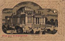 AK Wiesbaden gel. 1901 nach Neheim Neues Theater Mondscheinkarte
