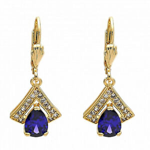 New 9 CT Gold filled Dangle Earring, Teardrop Design, Amethyst & Micro Pave 244