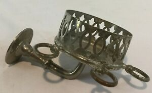 Antique Vintage c1905 Nickel Plated Brass Fancy Tumbler Toothbrush Holder
