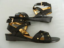 "Naturalizer ""Jester"" Black Leather Wedge Sandal Size 8"
