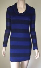SOPRANO Blue Striped Cowl Neck Sweater Dress Size M Long Sleeve