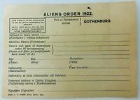 Vintage Port of Embarkation Abroad Gothenburg Sweden Aliens Order 1922