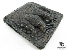 PELGIO Genuine Crocodile Alligator Foot Claw Skin Leather Handmade Wallet Brown