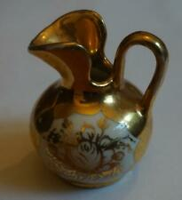 vintage 24 KARAT GOLD PLATE miniature PITCHER Weisley China hand painted